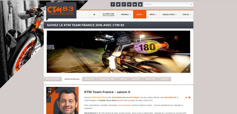 Intégration d'un blog à un site - blog KTM Team France 2016